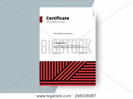 Certificate Of Appreciation Template Design. Elegant Business Diploma Layout For Training Graduation