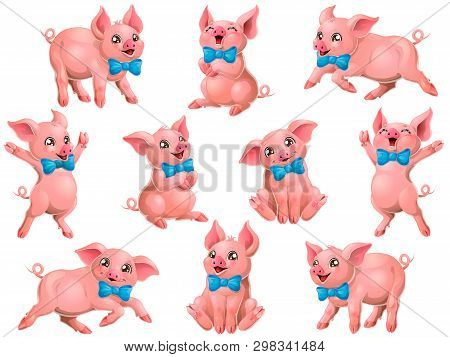 Big Set Pink Pigs With Blue Bow