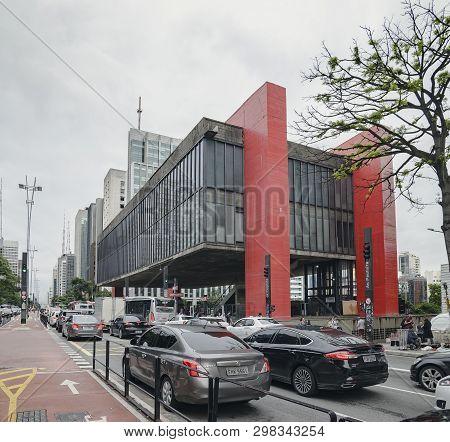 Sao Paulo Sp, Brazil - March 01, 2019: Art Museum Masp, Museu De Arte De Sao Paulo Assis Chateaubria