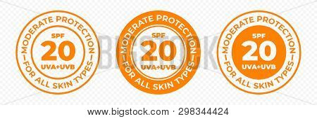 Spf 20 Sun Protection, Uva And Uvb Vector Icons. Spf 20 Moderate Medium Uv Protection Skin Lotion An