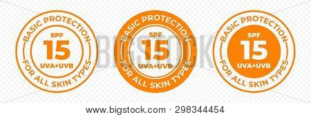 Spf 15 Sun Protection Uva And Uvb Vector Icons. Spf 15 Basic Uv Protection Skin Lotion And Cream Pac