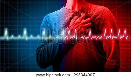 Heart Disorder And Atrial Fibrillation Ecg As A Coronary Cardiac Attack With Irregular And Normal Or