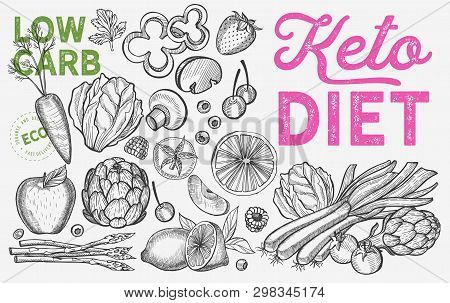 Ketogenic Diet Vegetables.vector Keto Hand Drawn Illustrations. Healthy And Low Carb Ingredients -fr