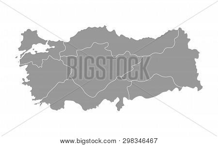 Vector Isolated Simplified Map Of Turkey Regions. Borders Of Administrative Divisions. Grey Silhouet