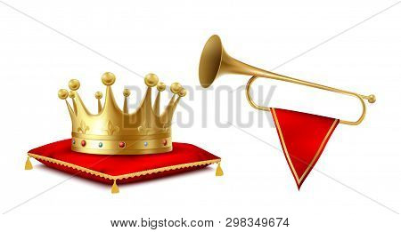 Golden Crown And Copper Fanfare Set Isolated On White Background. Royal Golden Crowning Headdress Wi