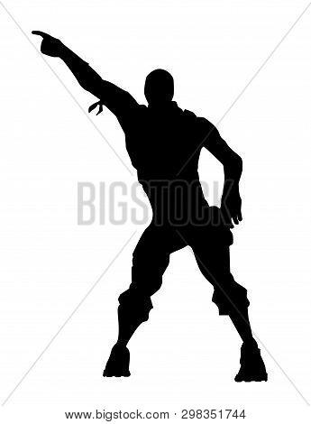 Fortnite Concept. Silhouette Of A Man In A Dance Pose. Dance Icon, Vector Illustration Fortnite
