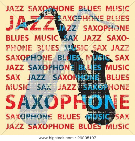 Jazz saxophone. Conceptual illustration for poster, cd cover etc.