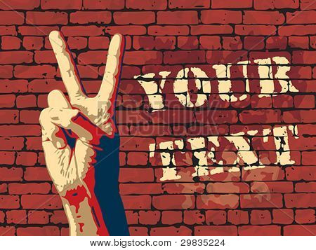 The Victory sign with red brick wall background, eps8, CMYK.