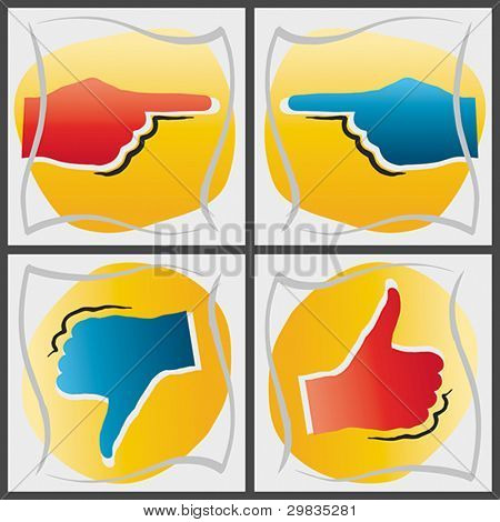 Concepts of pointing hands, thumbs up and down, Vector format EPS 8, CMYK.