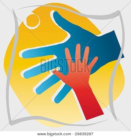 Dando de mano a un niño, Ilustración del concepto, EPS 8, CMYK