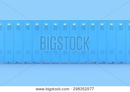Row Of Blue Metal Gym Lockers On A Pink Background 3d Rendering