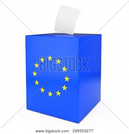 European Union Vote Concept. Vote Paper Falls In To Vote Box With European Union Flag On A White Bac
