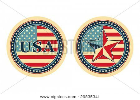 USA national and patriotic concepts for badge, sticker etc., Vector format EPS 8, CMYK.