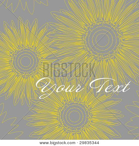 Abstract background with stylized sunflowers, Vector format EPS 8, CMYK.