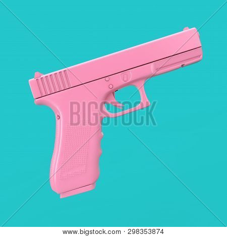 Pink Powerful Police Or Military Pistol Gun On A Blue Background. 3d Rendering