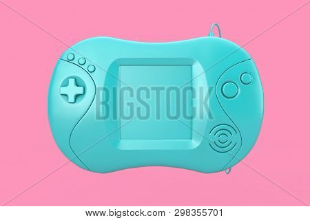 Blue Blank Old Portable Video Game Console On A Pink Background 3d Rendering