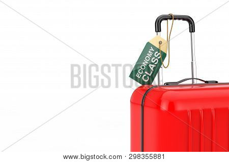 Red Suitcase With Hand Luggage Flight Economy Class Tag Label On A White Background. 3d Rendering