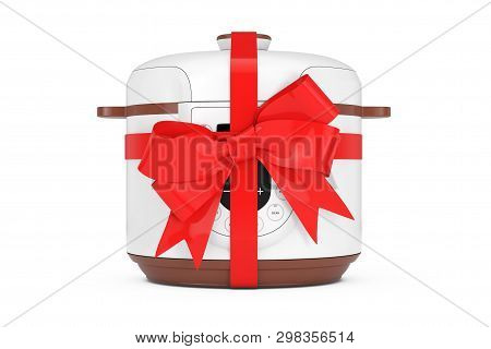Modern Electric Multi Cooker With Red Ribbon And Bow On A White Background 3d Rendering
