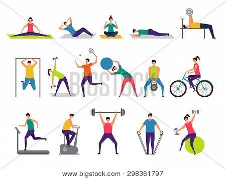 Sport Activities. Active People Making Fitness Actions Running Jumping Playing Cycling Vector Charac
