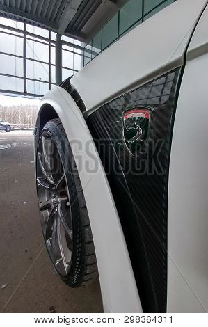 Moscow, Russia - April 29, 2019: Porsche 911 Turbo In Exclusive Wide And Carbon Body Kit Named Sting