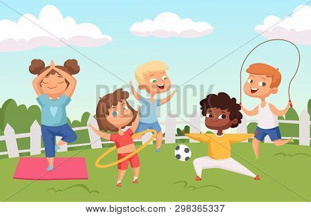 Happy Active Kids Characters. Summer Outdoor Activity - Childhood Vector Background. Illustration Of