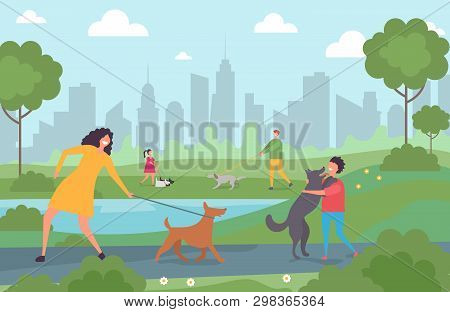 Happy People Walking With Dogs In The City Park. Cartoon Character Adults And Kids With Pets Vector