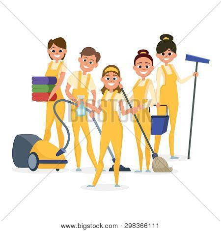 Best Cleaning Staff Vector Characters Isolated On White Background. Illustration Of Staff Profession