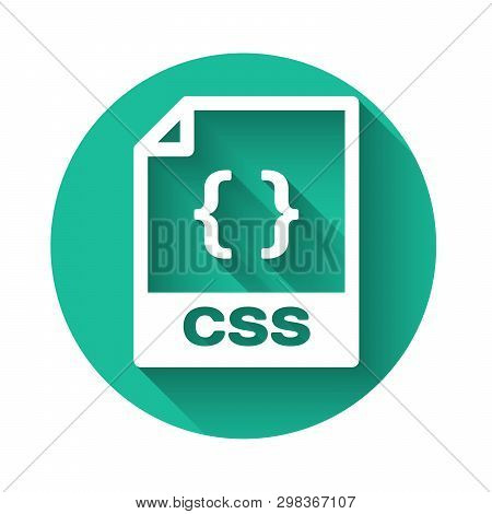 White Css File Document Icon. Download Css Button Icon Isolated With Long Shadow. Css File Symbol. G