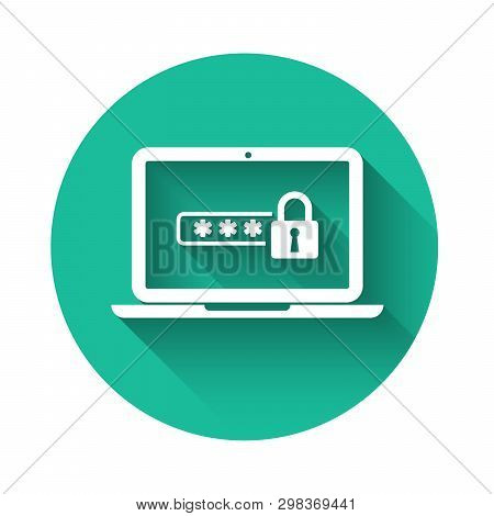 White Laptop With Password Notification And Lock Icon Isolated With Long Shadow. Concept Of Security