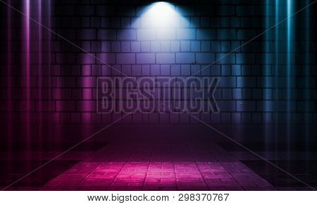 Empty Scene Background. Brick Wall With Multicolored Neon Lights And Smoke. Neon Shapes On A Dark Ba