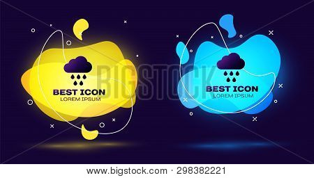Black Cloud With Rain Icon Isolated. Rain Cloud Precipitation With Rain Drops. Set Of Liquid Color A
