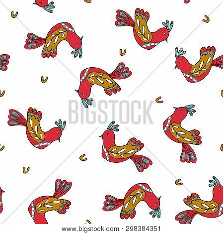 Seamless Pattern With Folk Birds. Scandinavian Style. Vector Illustration.