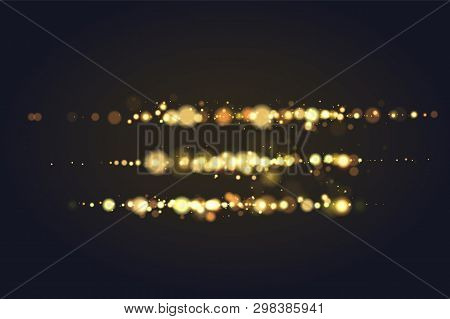 Golden Bokeh Sparkle Glitter Luxury Glamor Camera Flash Light Background. Abstract Defocused Circula