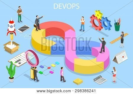 Isometric Flat Vector Concept Of Devops, Development And Operations.