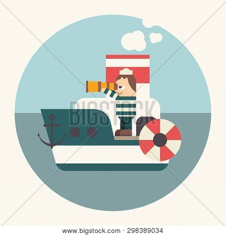 Funny Cartoon Sailor On Boat Looking At Sea Through Telescope Or Spyglass. Seaman On Steamboat. Vect