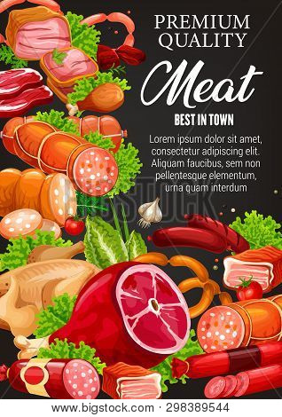 Gourmet Sausages, Butchery Meat And Smoked Meaty Products. Vector Butcher Shop Food Delicatessen, Be