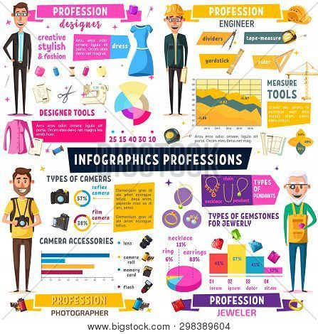 Fashion Designer, Photographer, Construction Engineer And Jeweler Professions Infographic. Vector Ch