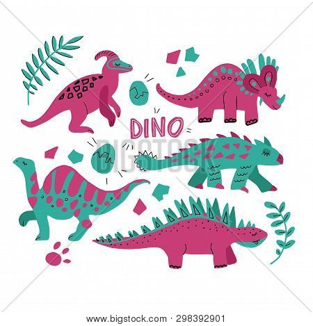 Hand Drawn Dinosaurs Set And Tropical Leaves. Cute Funny Cartoon Dino Collection. Hand Drawn Vector