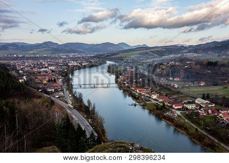 The Landscape View From Medieval Castle Strecno Between Towns Of Zilina And Martin And The Village B