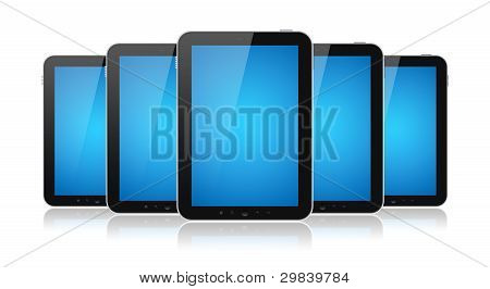 Set of digital tablets with blank blue screen isolated on white. poster
