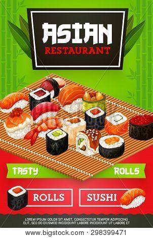 Japanese Sushi Bar Menu Cover With Maki Rolls, Wasabi Or Ginger And Chopsticks. Japan Asian Cuisine