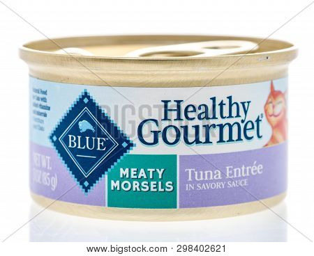 Winneconne, Wi -  26 April 2019: A Can Of Blue Healthy Gourmet Meaty Morsels Cat Food On An Isolated