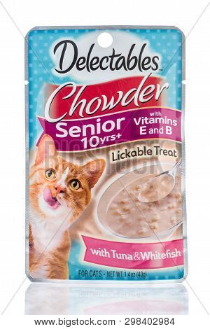 Winneconne, Wi -  26 April 2019: A Package Of Delectables Chowder For Senior Cats Lickable Treat Cat