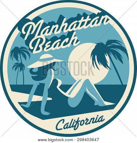 Manhattan Beach California Retro Style Postcard Vector Illustration