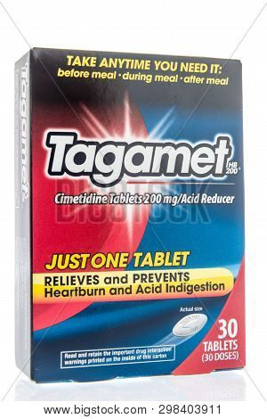 Winneconne, Wi -  26 April 2019: A Package Of Tagamet Medicine For Heartburn On An Isolated Backgrou