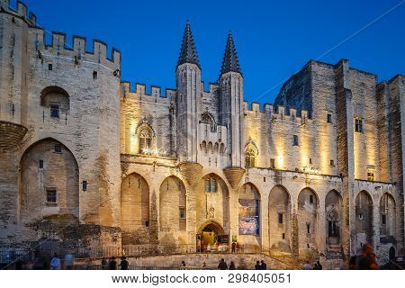 Avignon, France - August 12, 2017: Avignon Pope Palace In The Night.