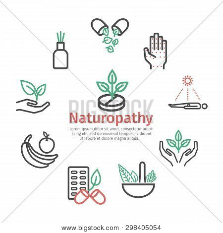 Alternative Medicine Banner. Naturopathy Line Icons. Vector Sign For Web Graphic.