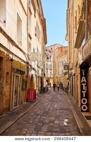 Provence France - 21 June 2016: Streets At The Heart Of Aix-en-p