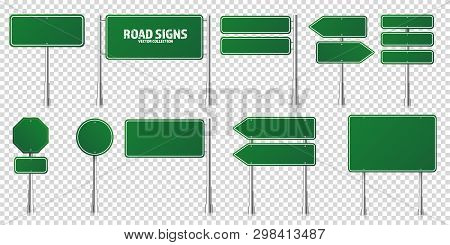 Road Green Traffic Signs Set. Blank Board With Place For Text. Mockup. Isolated Information Sign. Di