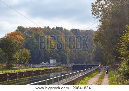 River Dam. River Dam In The Countryside. River In The Forest. Beautiful View Of Nature. Landscape Ph